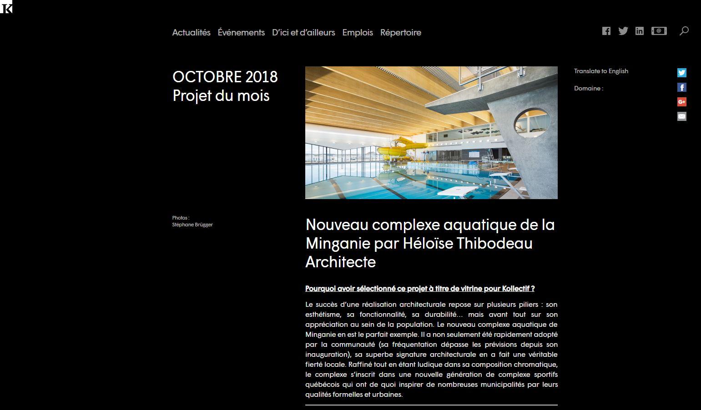 Complexe aquatique de Minganie : Projet du mois d'octobre sur Kollectif
